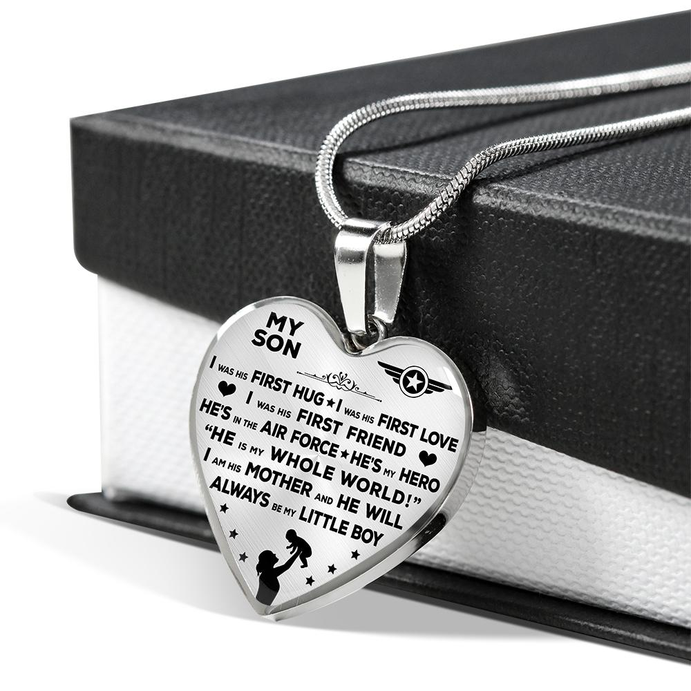 "Air Force Mom ""I Am His Mother"" Heart Necklace 