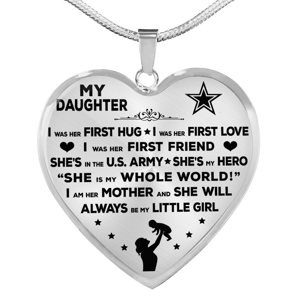 "Army Mom ""I Am Her Mother"" Heart Necklace 