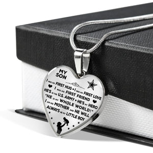 "Army Mom ""I Am His Mother"" Heart Necklace 