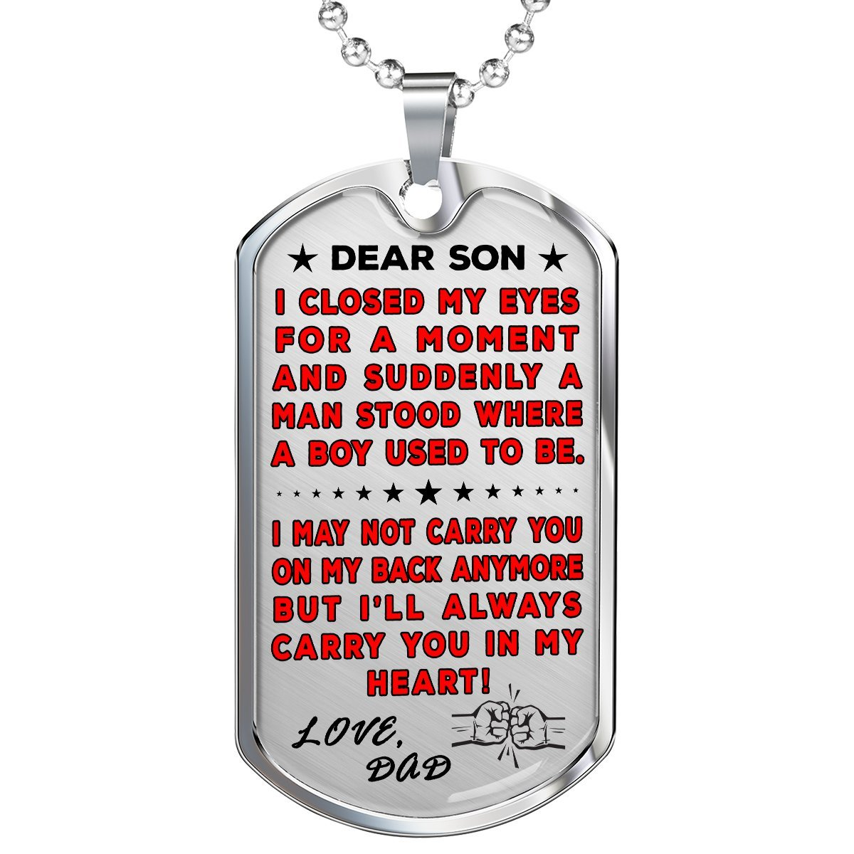 "Dad To Son ""You're In My Heart"" Dog Tag 