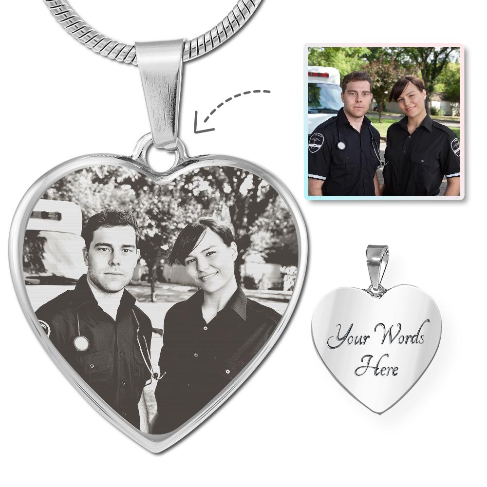 EMS Photo Laser Etched Heart Necklace | Heroic Defender