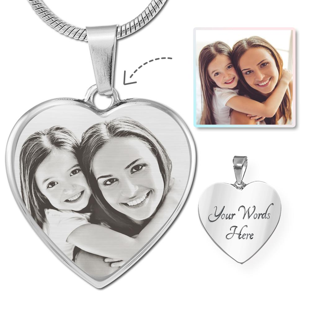 Family Photo Laser Etched Heart Necklace | Heroic Defender