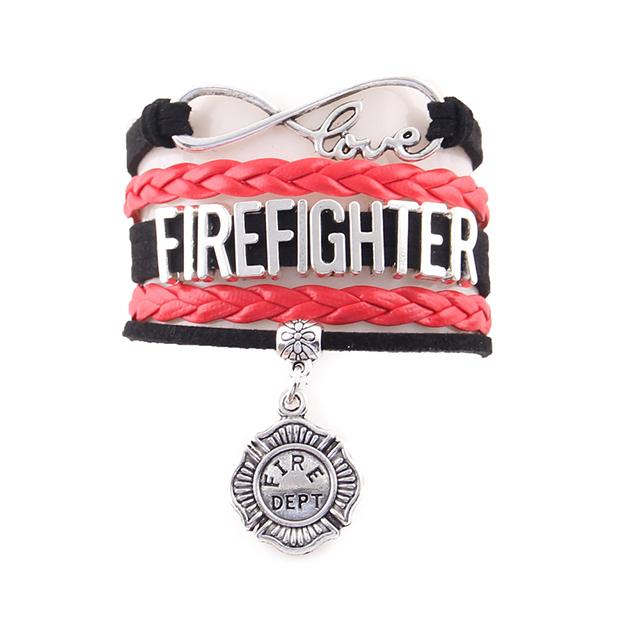 Firefighter Infinity Love Bracelet With Fire Dept Charm | Heroic Defender