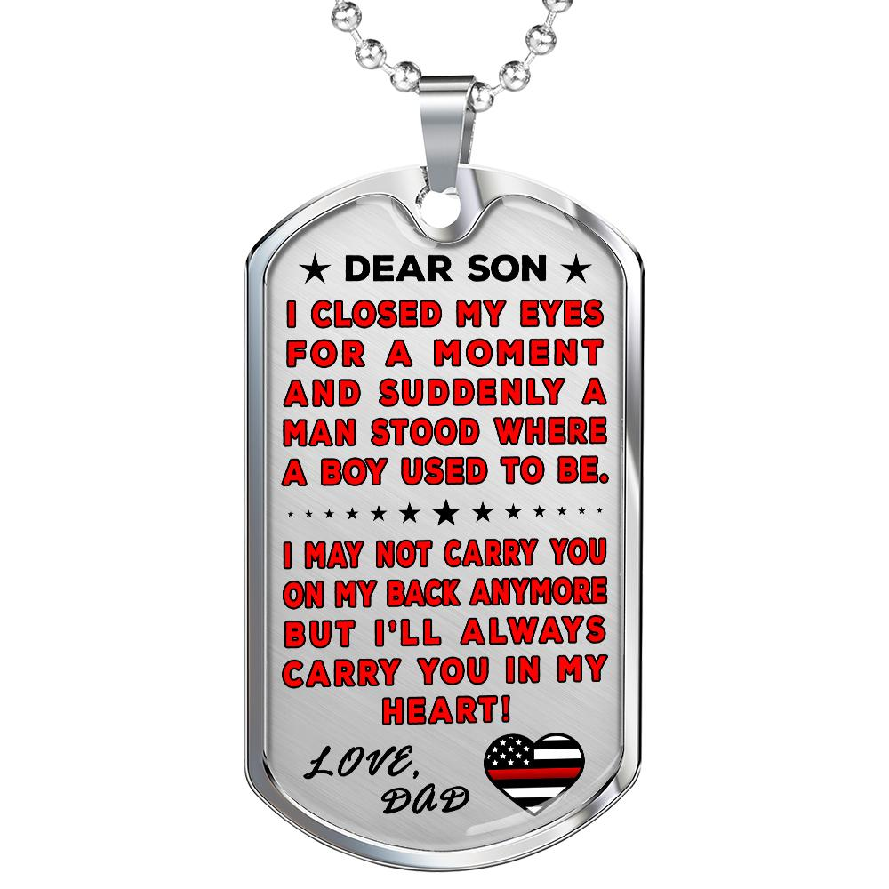 "Firefighter Dad To Son ""You're In My Heart"" Dog Tag 