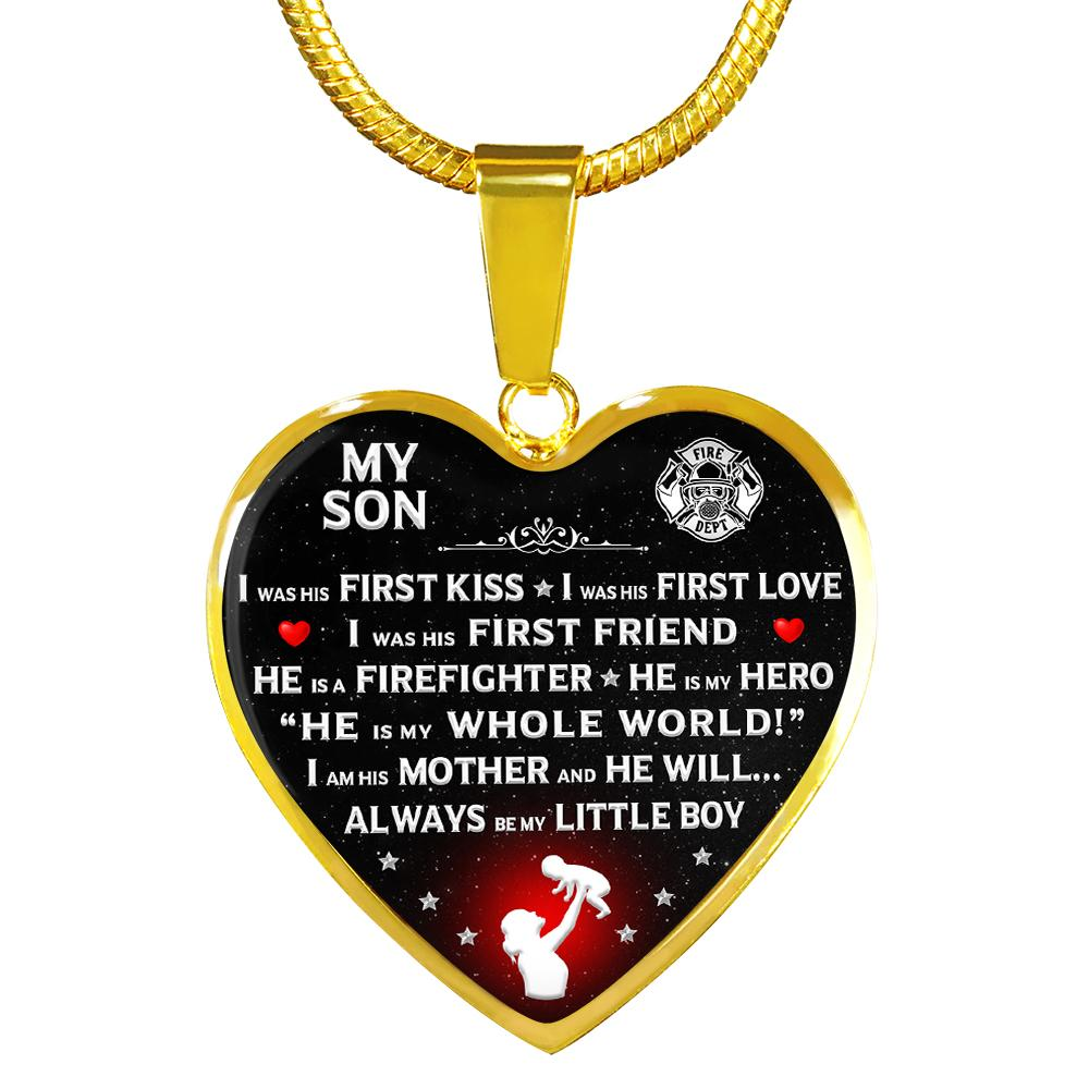 "Firefighter Mom ""I Am His Mother"" Heart Necklace 