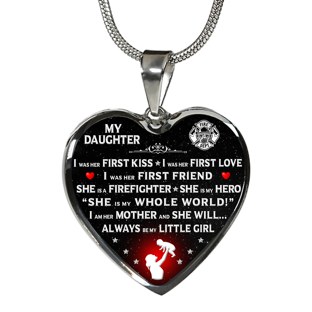 "Firefighter Mom ""I Am Her Mother"" Heart Necklace - Heroic Defender"