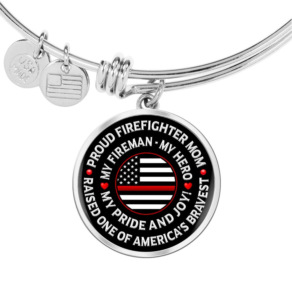 "Firefighter Mom ""Pride and Joy"" Bangle Bracelet - Heroic Defender"