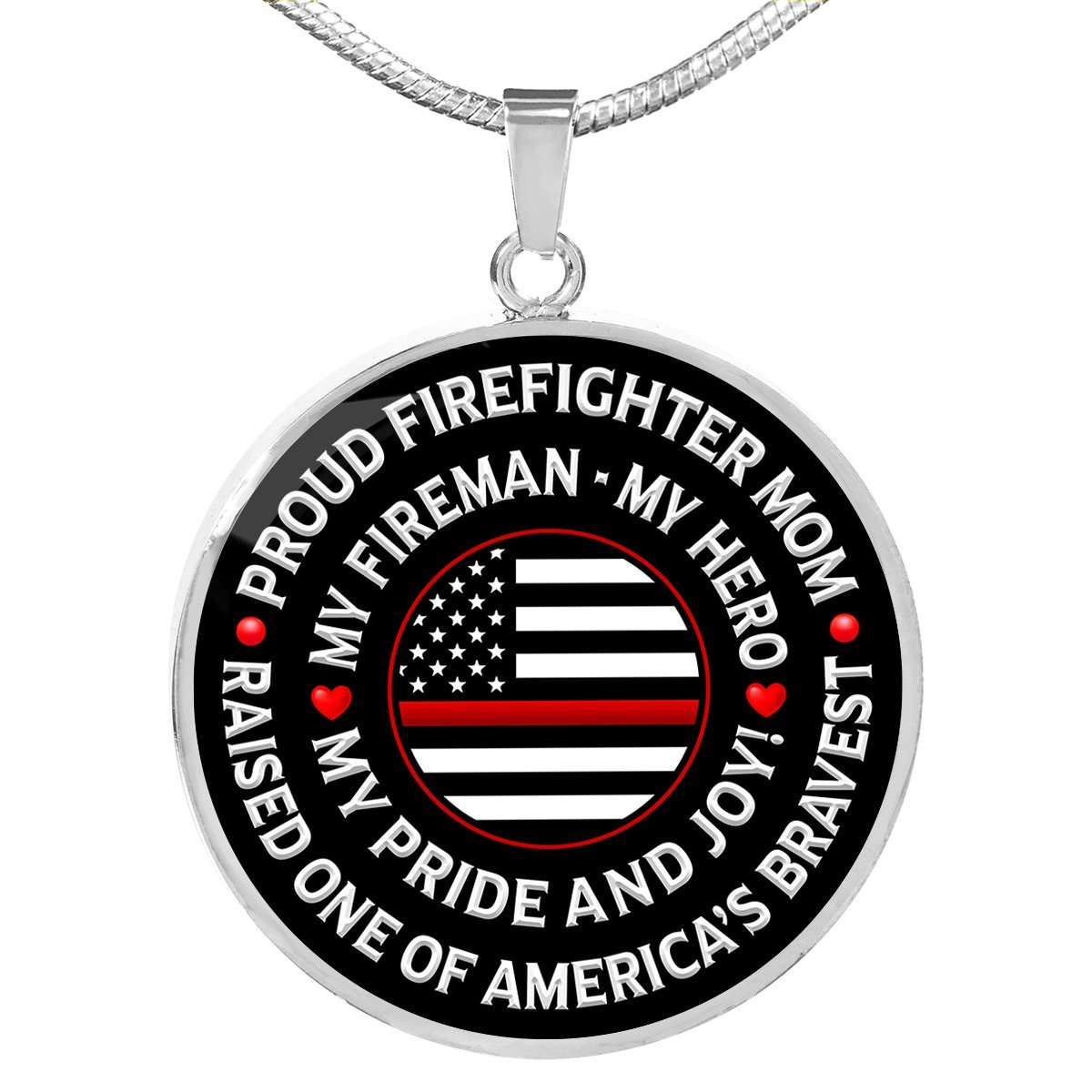"Firefighter Mom ""Pride and Joy"" Necklace - Heroic Defender"