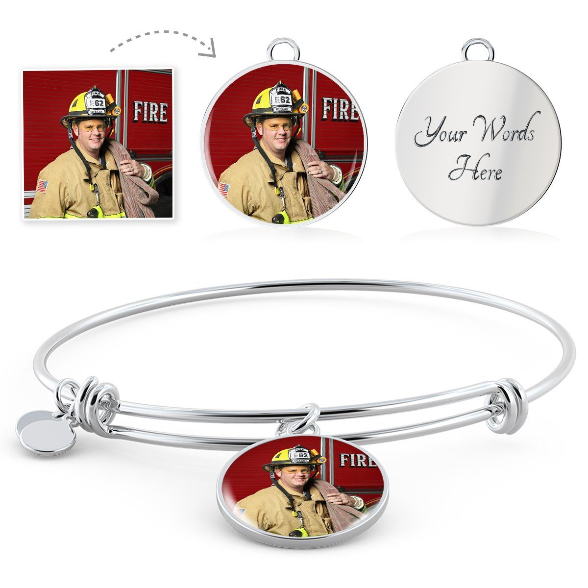 Firefighter Personalized Photo Circle Bangle Bracelet - Heroic Defender