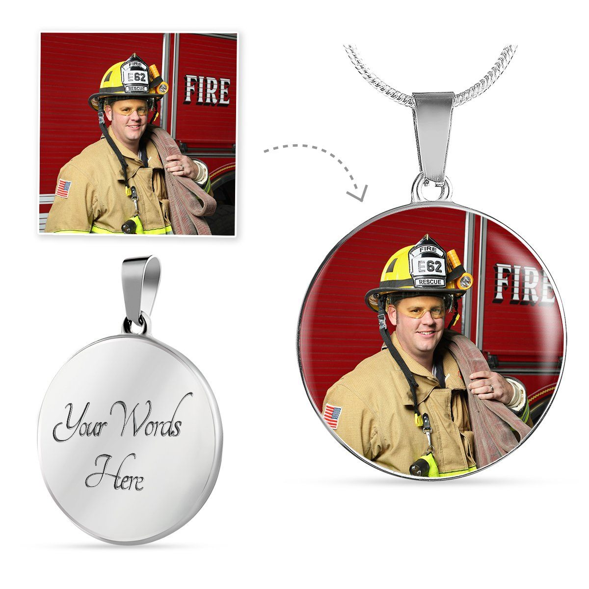 Firefighter Personalized Photo Circle Necklace | Heroic Defender