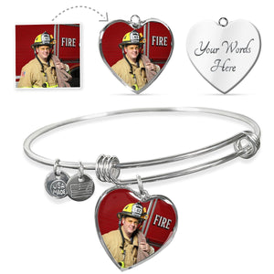Firefighter Personalized Photo Heart Bangle Bracelet | Heroic Defender