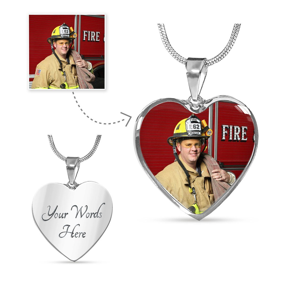 Firefighter Personalized Photo Heart Necklace - Heroic Defender
