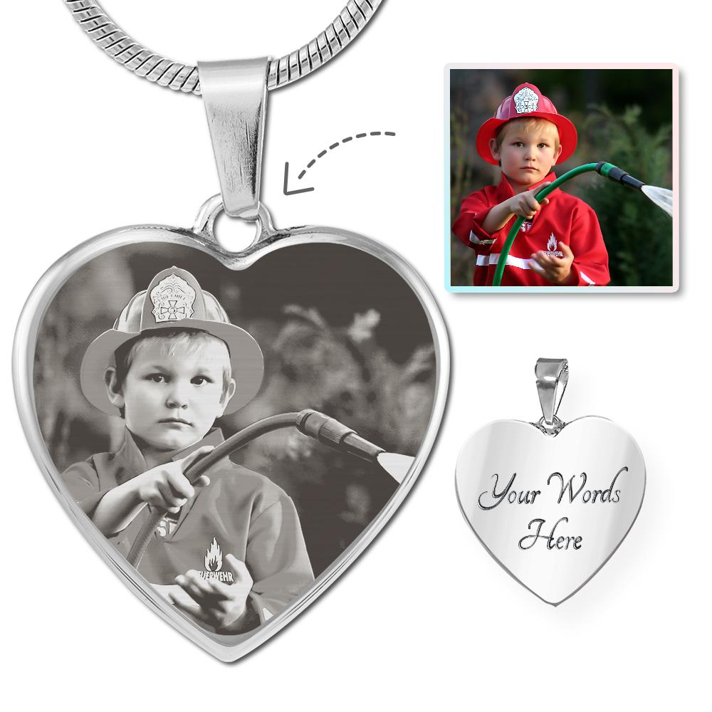 Firefighter Photo Laser Etched Heart Necklace | Heroic Defender