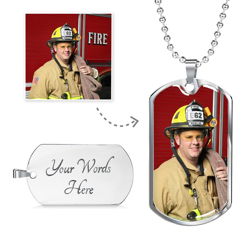 Firefighter Personalized Military Dog Tag - Heroic Defender