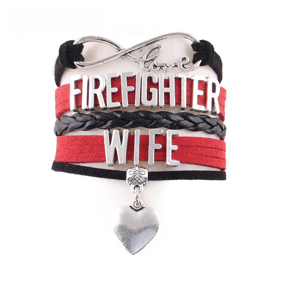 Firefighter Wife Infinity Love Bracelet With Heart Charm - Heroic Defender