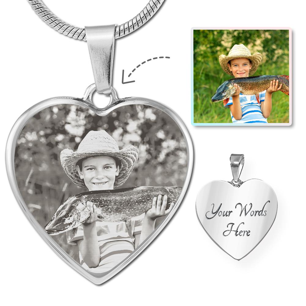 Fishing Photo Laser Etched Heart Necklace | Heroic Defender