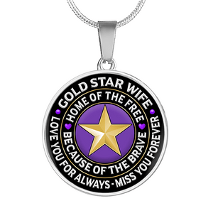 "Gold Star Wife ""Love You For Always"" Necklace 