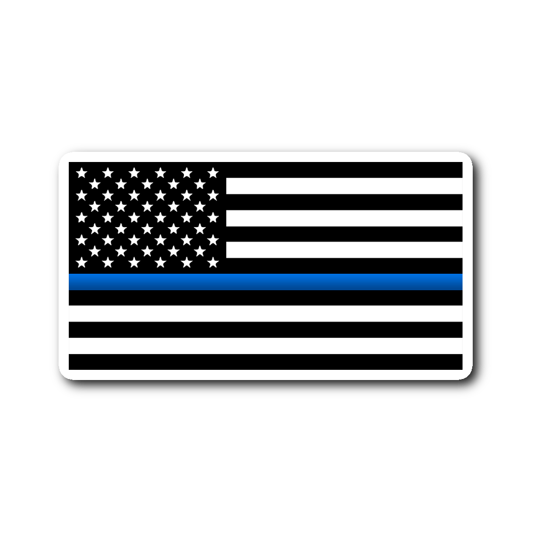 Thin Blue Line Flag Vinyl Decal Sticker | Heroic Defender