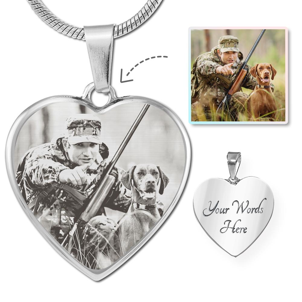 Hunting Photo Laser Etched Heart Necklace | Heroic Defender