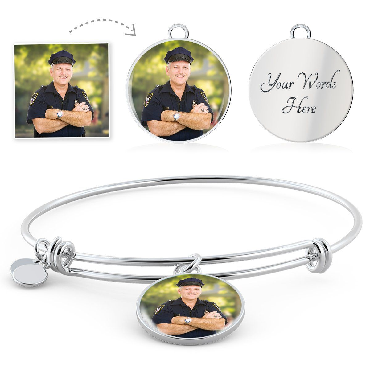 Law Enforcement Personalized Photo Circle Bangle Bracelet - Heroic Defender