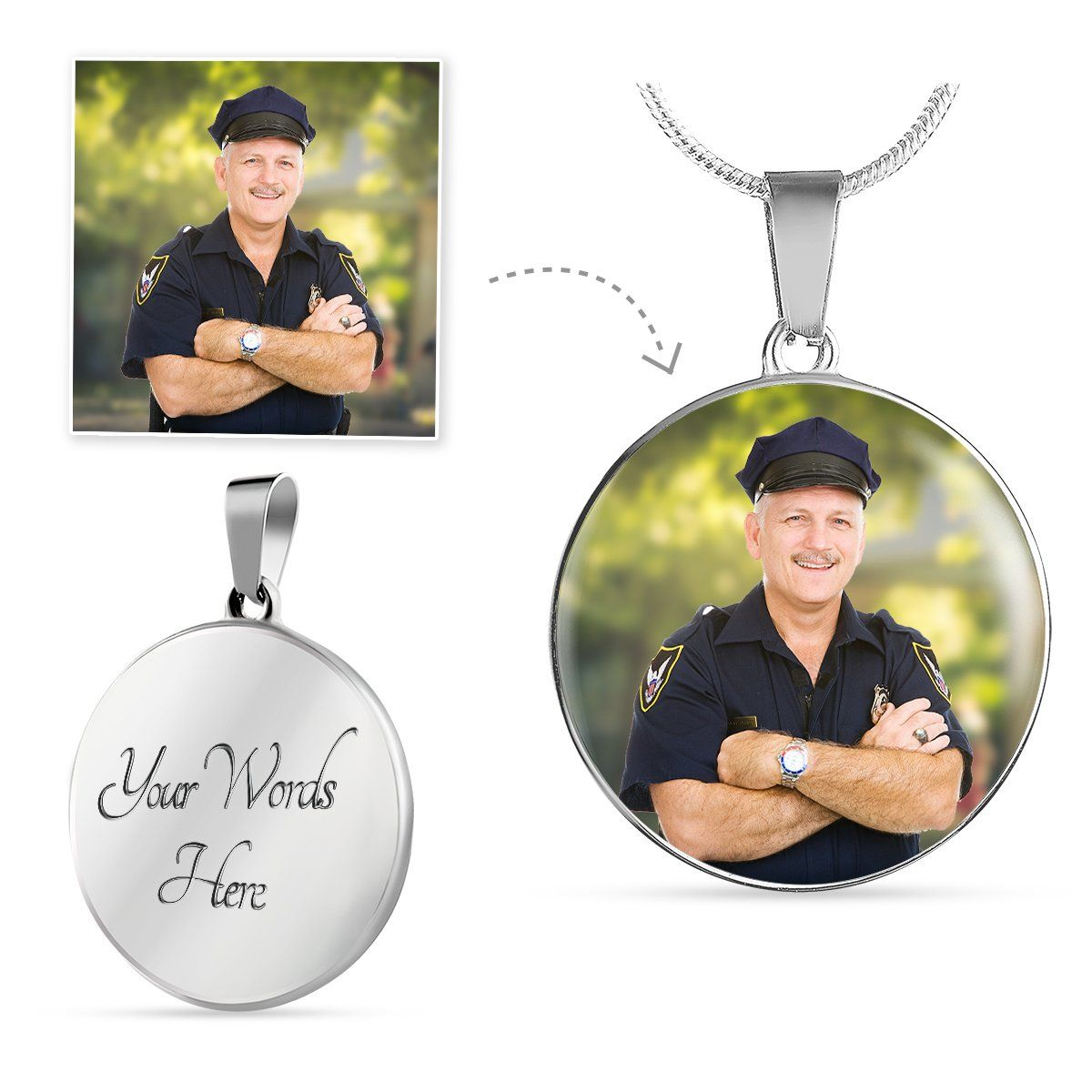 Law Enforcement Personalized Photo Circle Necklace - Heroic Defender