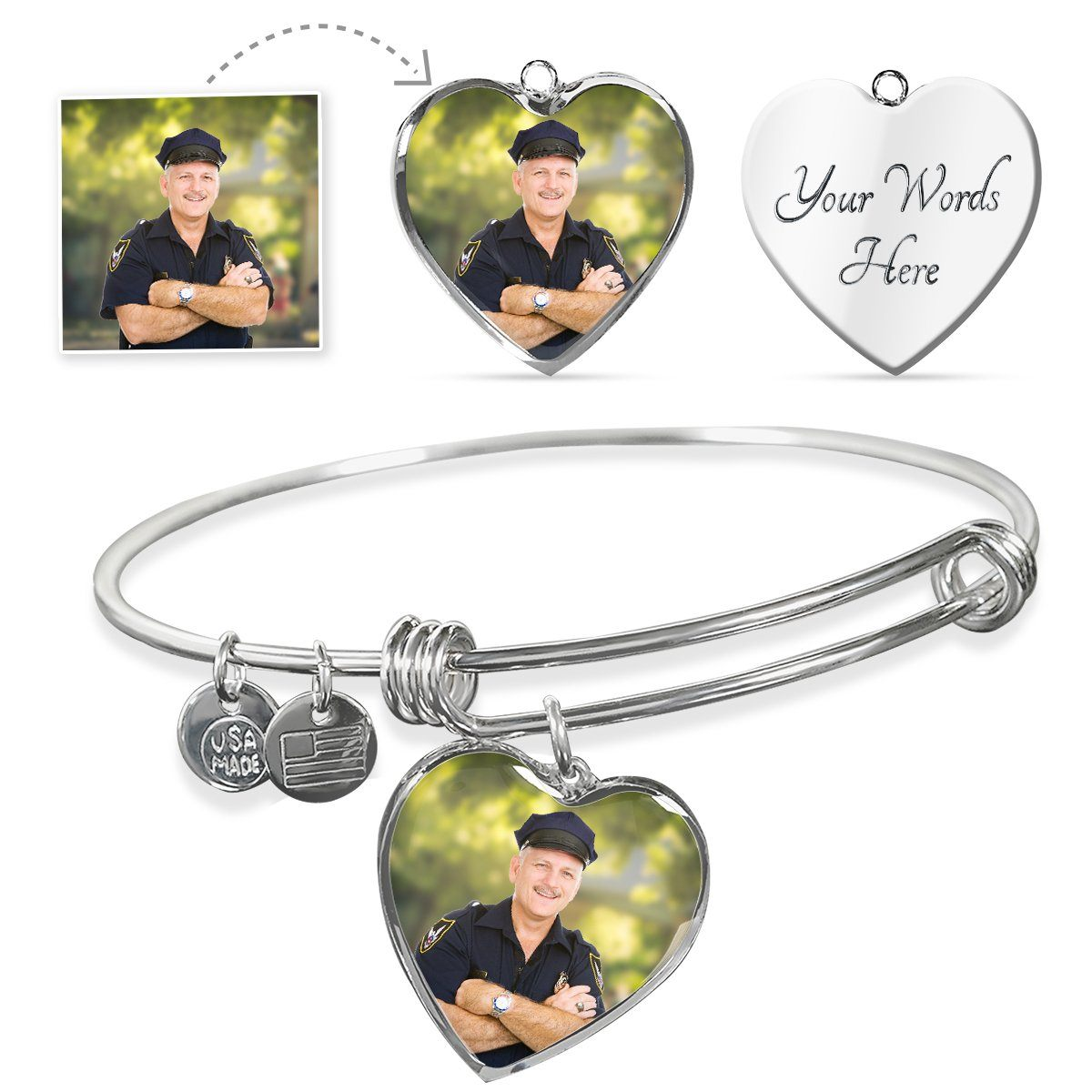Law Enforcement Personalized Photo Heart Bangle Bracelet - Heroic Defender