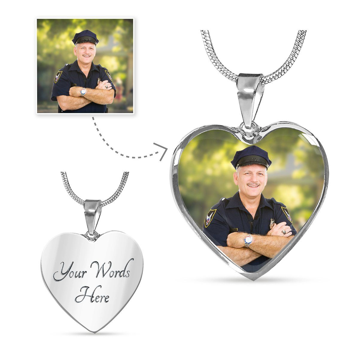 Law Enforcement Personalized Photo Heart Necklace - Heroic Defender