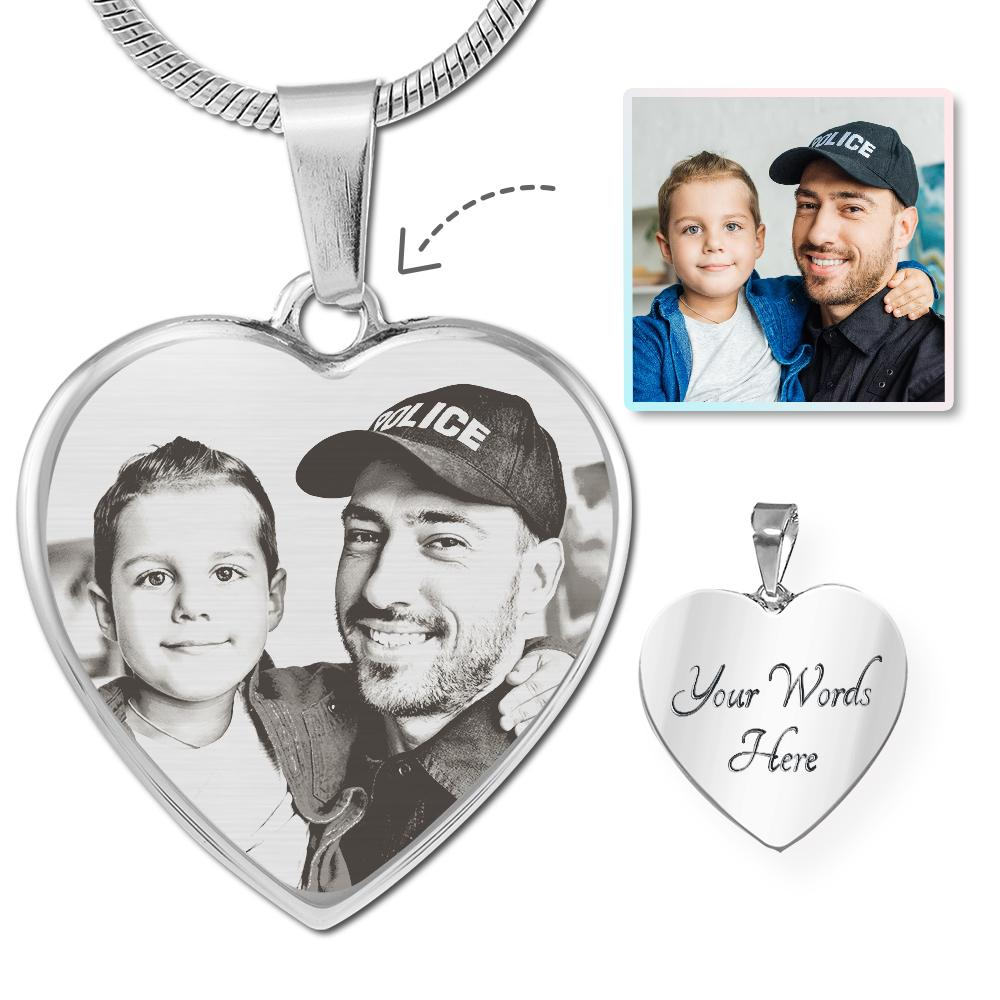 Law Enforcement Photo Laser Etched Heart Necklace | Heroic Defender