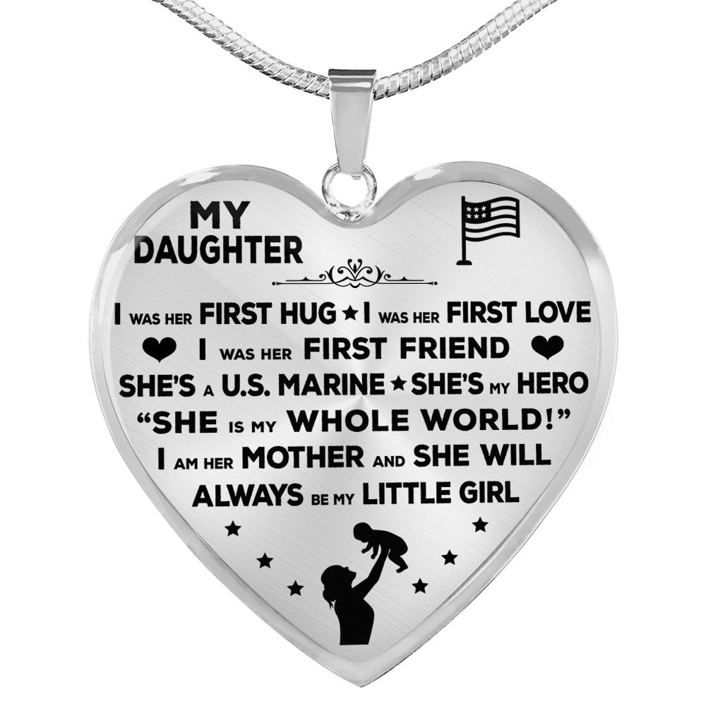 "Marine Mom ""I Am Her Mother"" Heart Necklace 