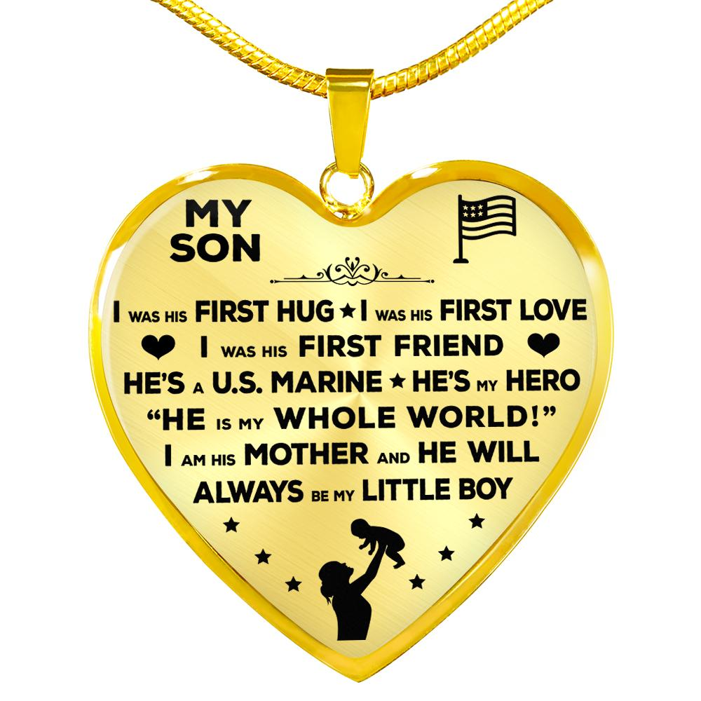 "Marine Mom ""I Am His Mother"" Heart Necklace 