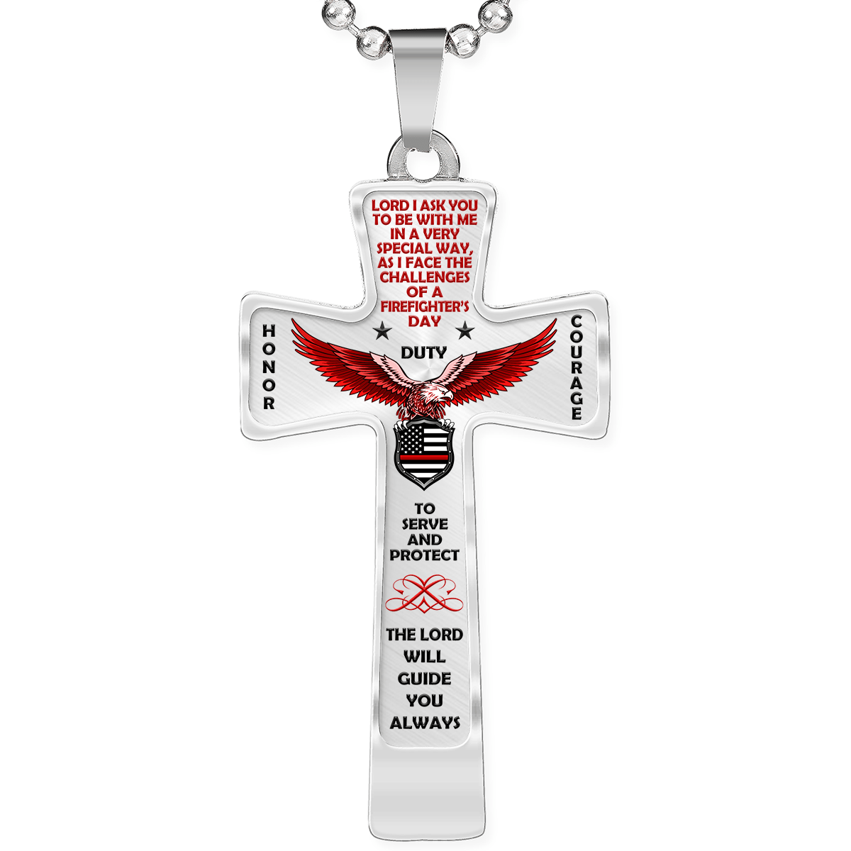 "Men's Firefighter ""Honor Duty Courage"" Cross Necklace 