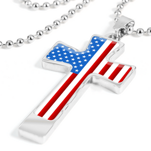 Men's Patriotic American Flag Cross Necklace | Heroic Defender