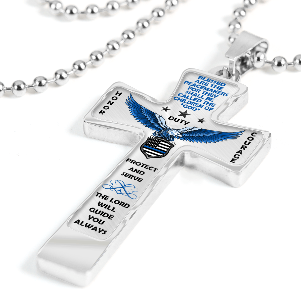 "Men's Police ""Honor Duty Courage"" Cross Necklace 