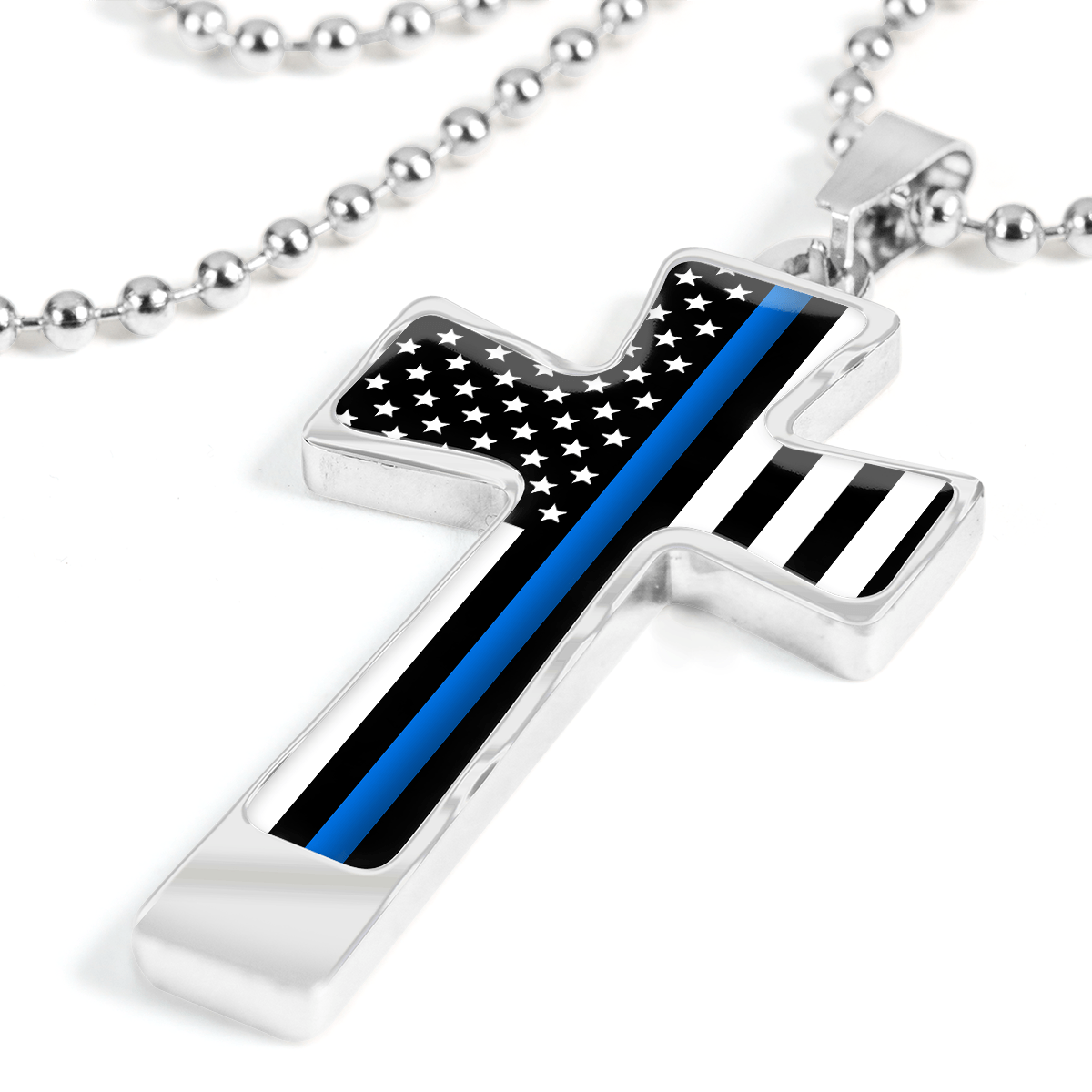 Men's Thin Blue Line Flag Cross Necklace - Heroic Defender