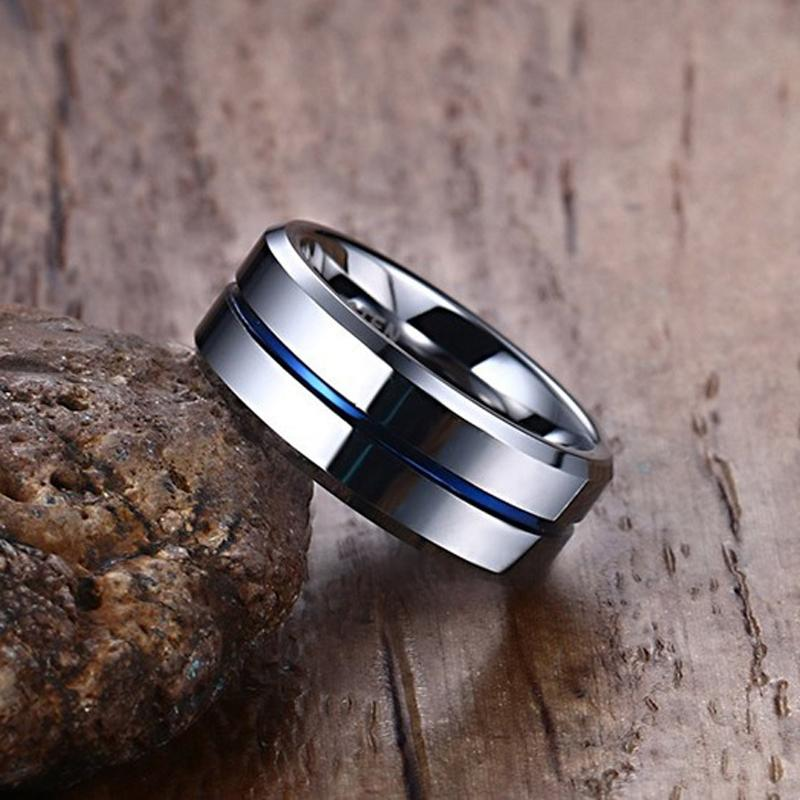 Men's Thin Blue Line Tungsten Wedding Band Ring | Heroic Defender