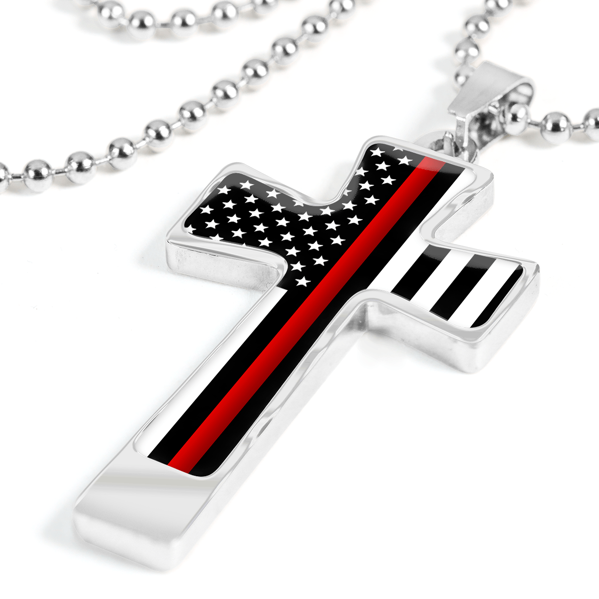 Men's Thin Red Line Flag Cross Necklace | Heroic Defender