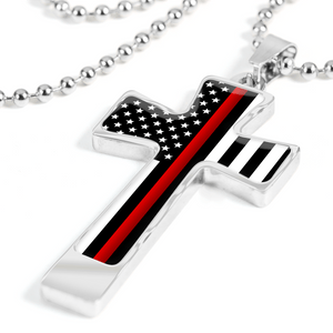 Men's Thin Red Line Flag Cross Necklace - Heroic Defender