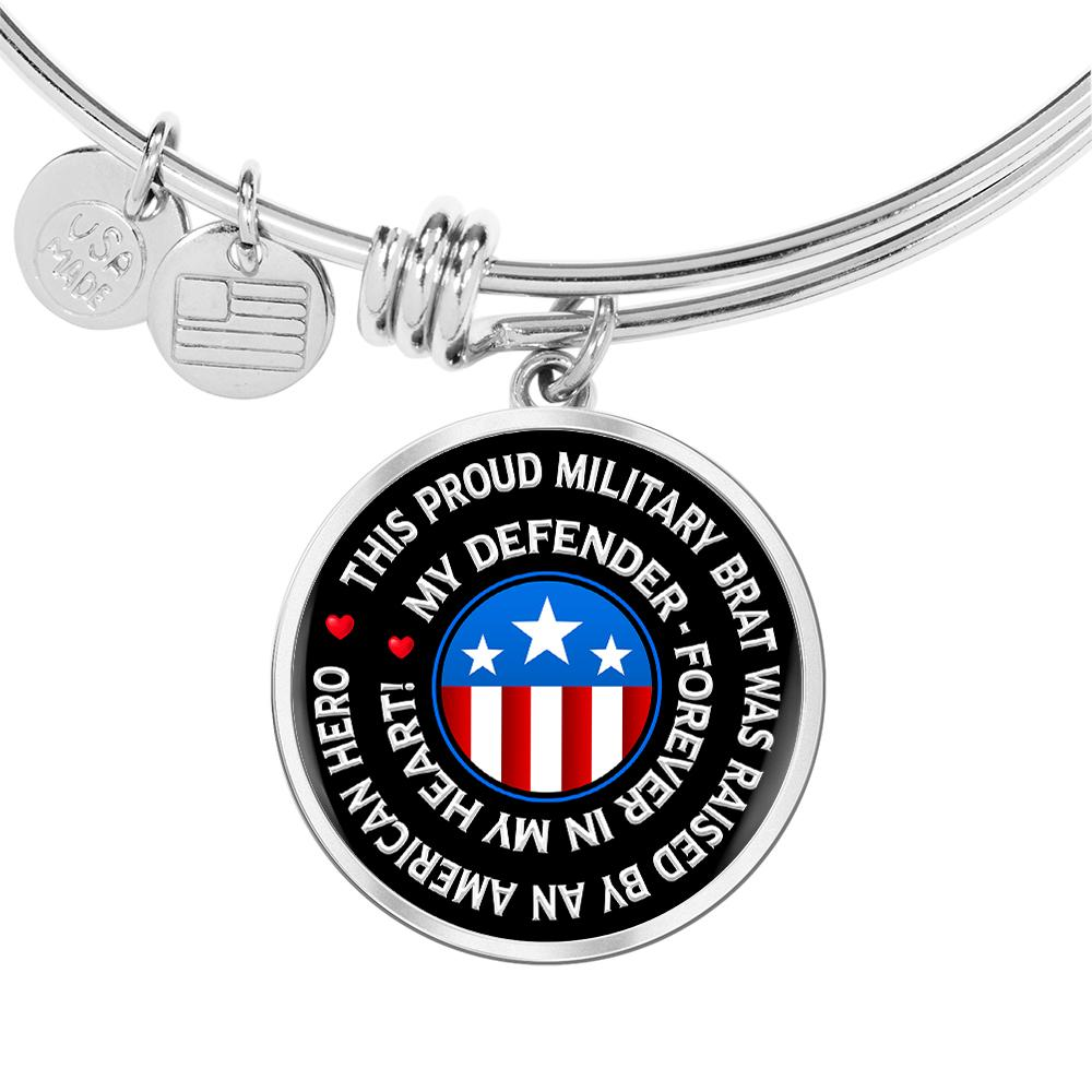 "Military Brat ""Forever In My Heart"" Bangle Bracelet 