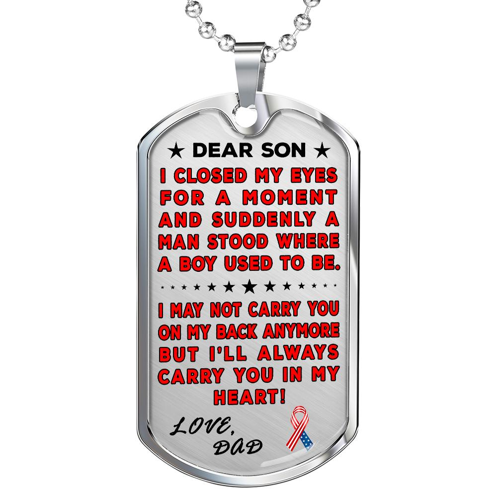 "Military Dad To Son ""You're In My Heart"" Dog Tag 