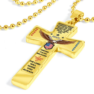 "U.S. Military ""Honor Duty Courage"" Cross Necklace 