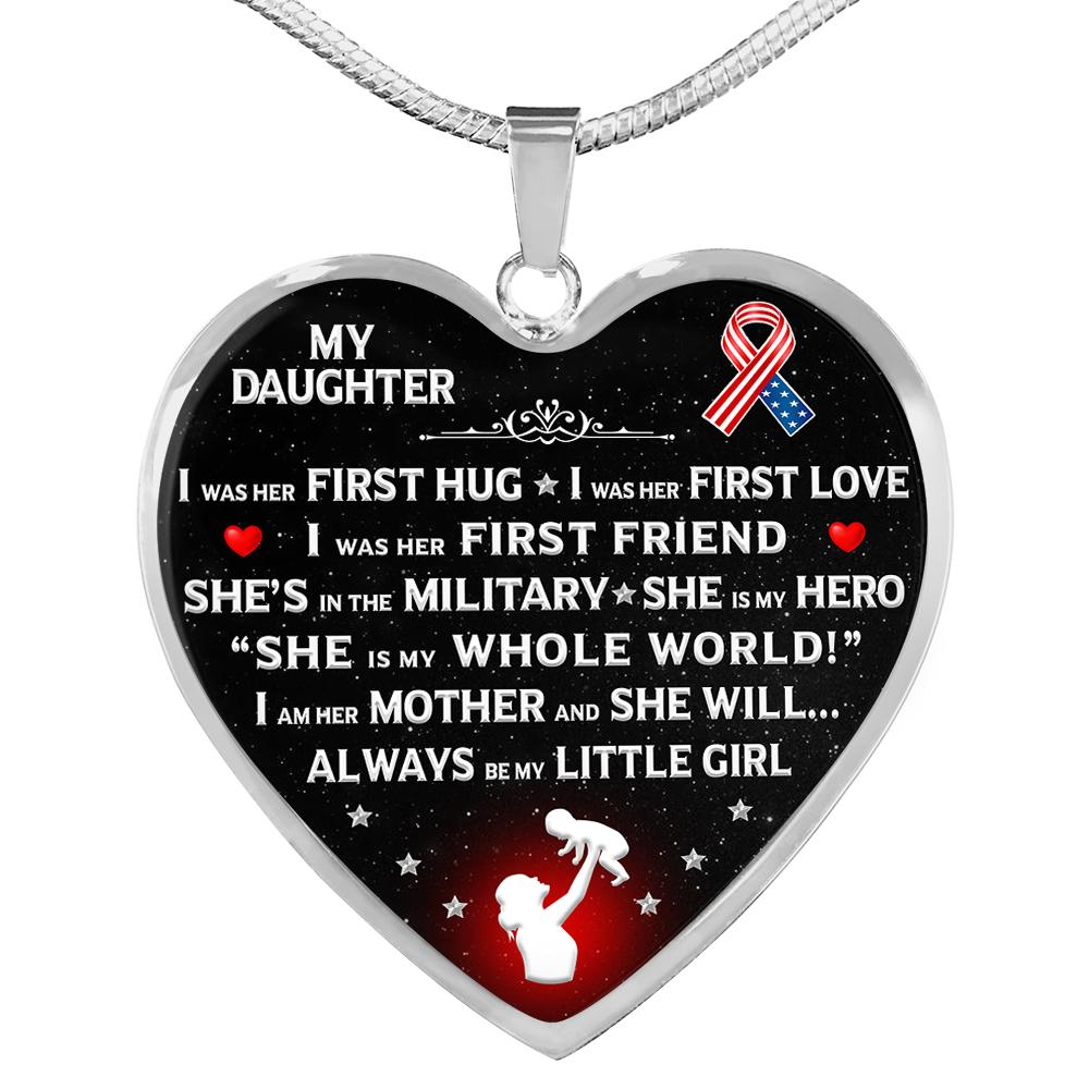 "Military Mom ""I Am Her Mother"" Heart Necklace 