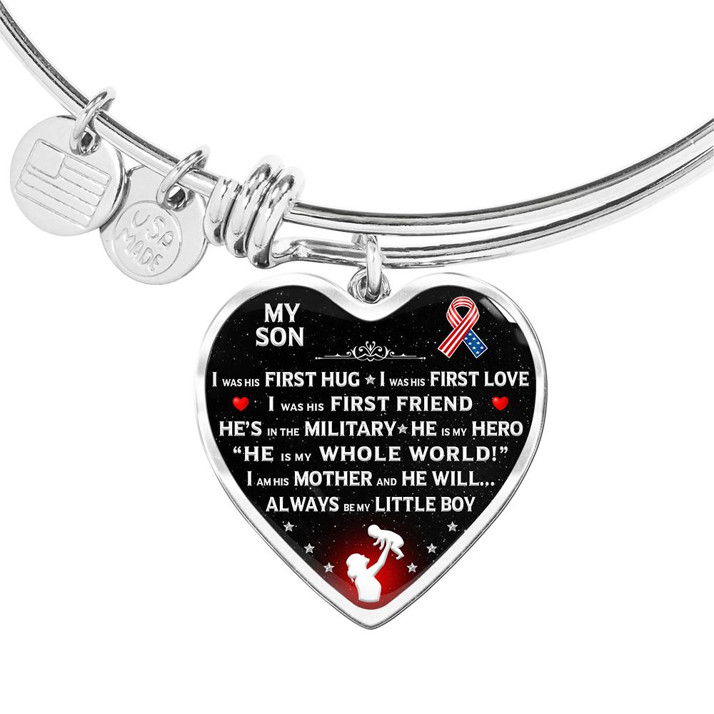 "Military Mom ""I Am His Mother"" Bangle Bracelet 