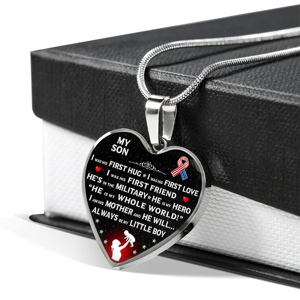 "Military Mom ""I Am His Mother"" Heart Necklace 