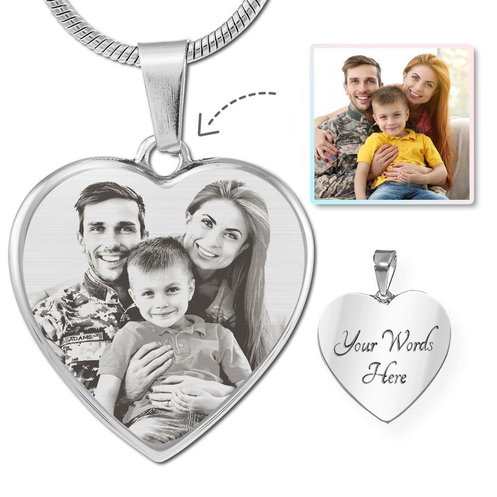 U.S. Military Photo Laser Etched Heart Necklace | Heroic Defender