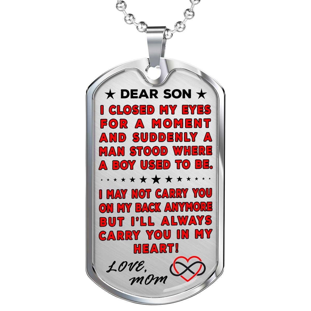 "Mom To Son ""You're In My Heart"" Dog Tag 