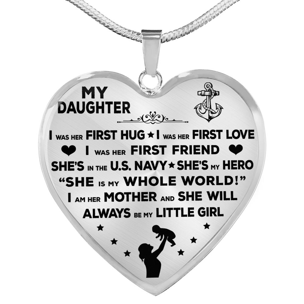 "Navy Mom ""I Am Her Mother"" Heart Necklace 