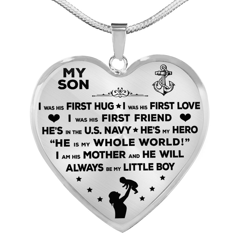 "Navy Mom ""I Am His Mother"" Heart Necklace 