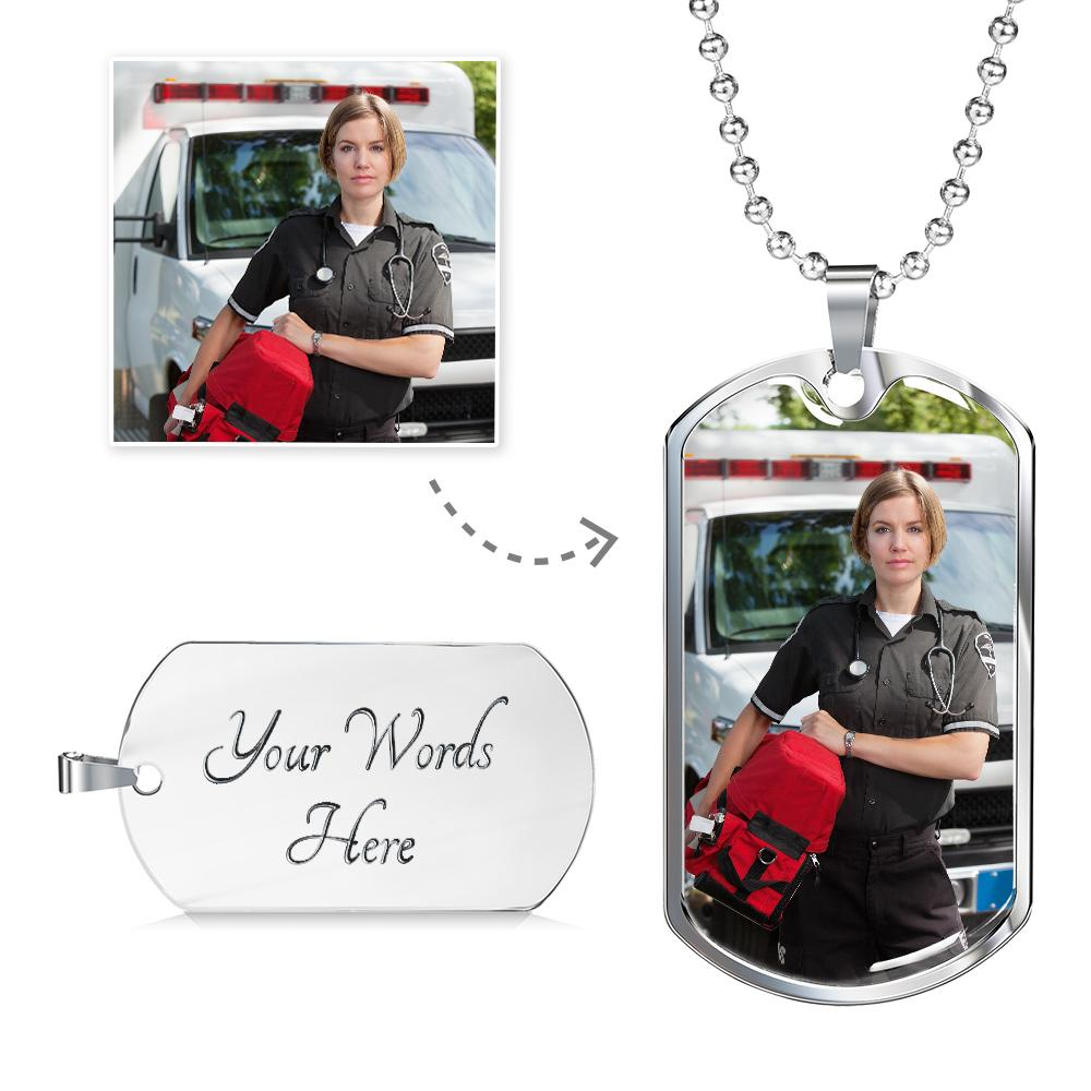 EMS Paramedic / Nurse Personalized Military Dog Tag - Heroic Defender
