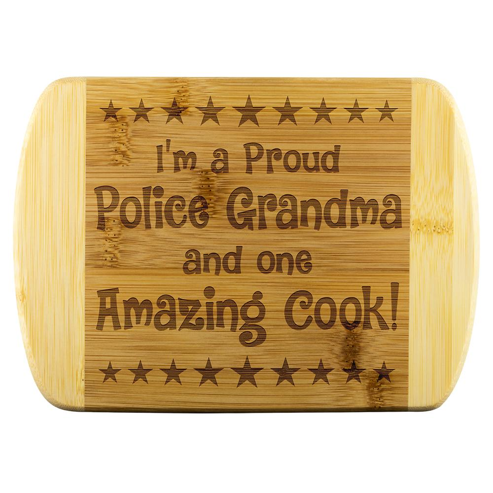 Police Grandma & Amazing Cook Cutting Board | Heroic Defender