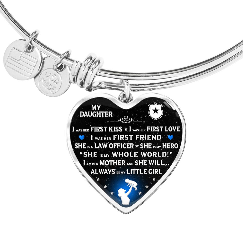 "Police Mom ""I Am Her Mother"" Bangle Bracelet 